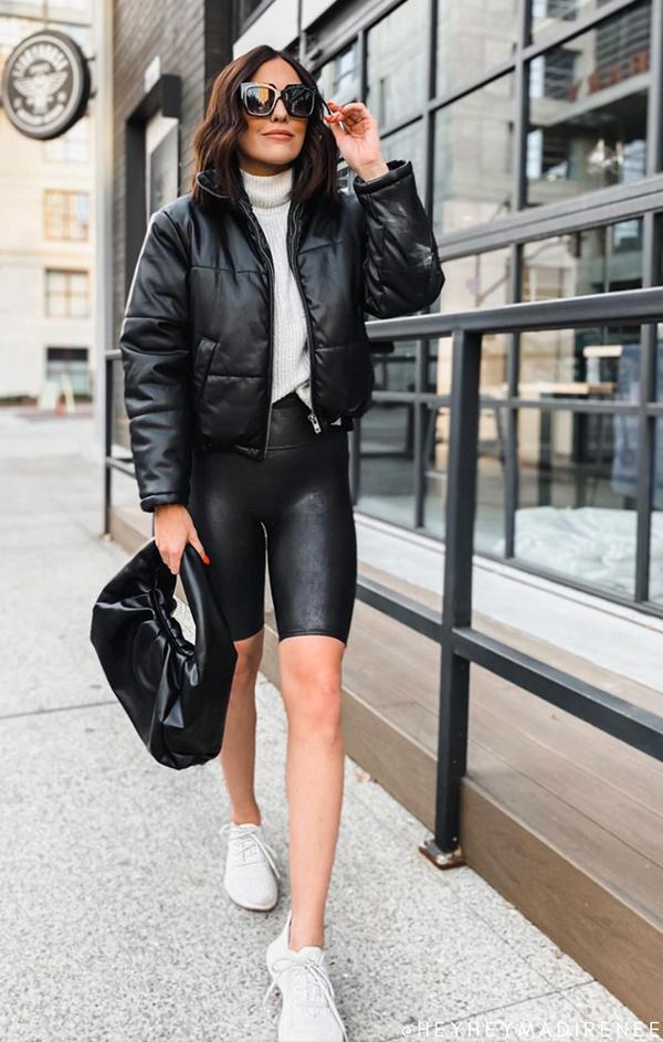 spring faux leather spanx biker shorts