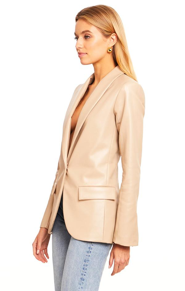brown faux leather low cut blazer jacket top