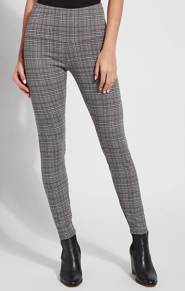 grey plaid high waisted leggings