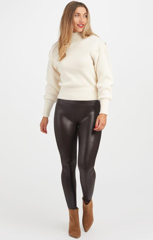 high waisted faux leather croc shine leggings