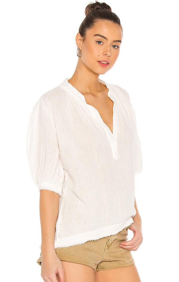 v neck gauze white puff sleeve top