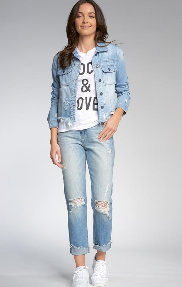 chic spring fray bottom blue jean jacket for women