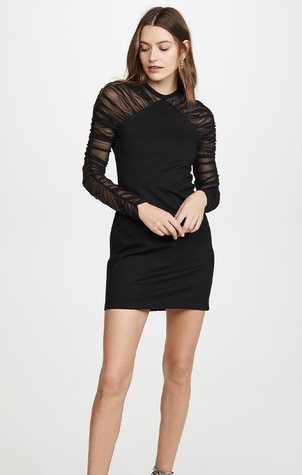 fancy wedding guest mini black dress