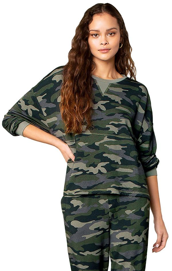 drop shoulder long sleeve drop shoulder camo print top