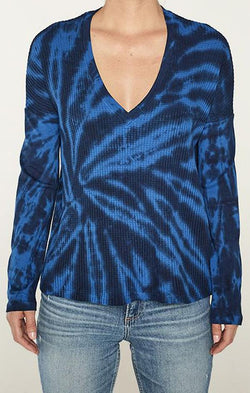 tie dye blue swirl v neck long sleeve top