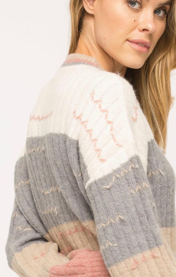 pulled thread color block sweater