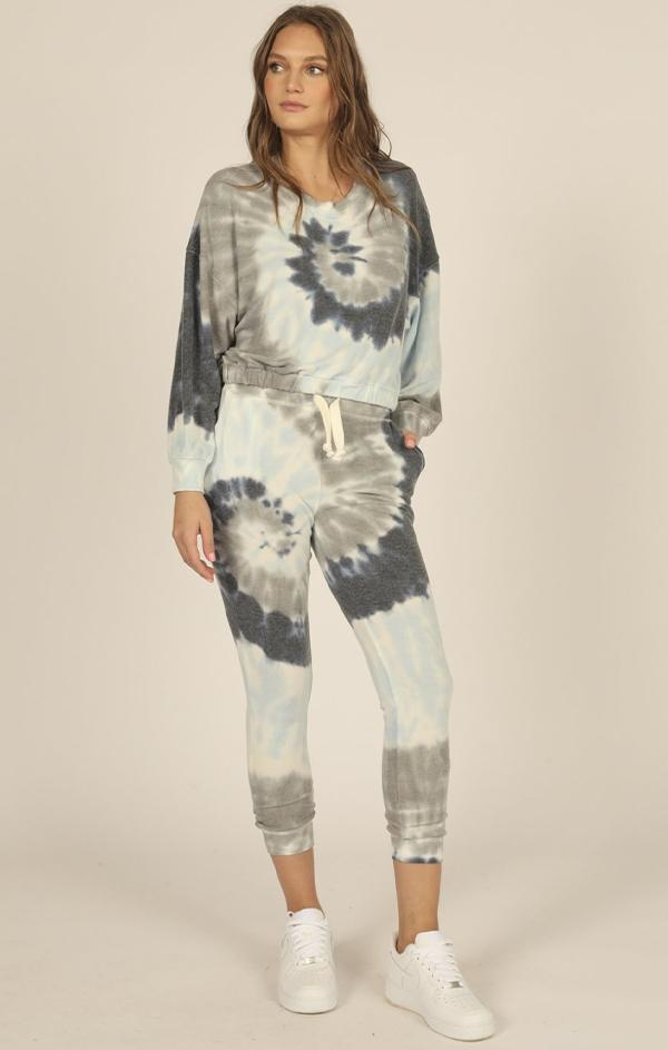 crop sweatshirt and joggers matching tie dye lounge set