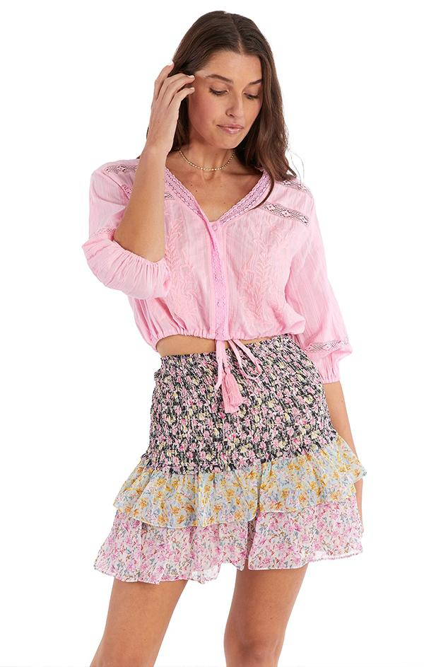 love shack fancy multi floral pattern mini skirt