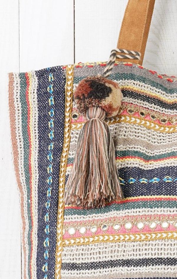 rainbow tassel tote big beach bag for summer