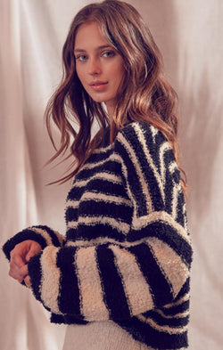 oversize pullover knit striped sweater