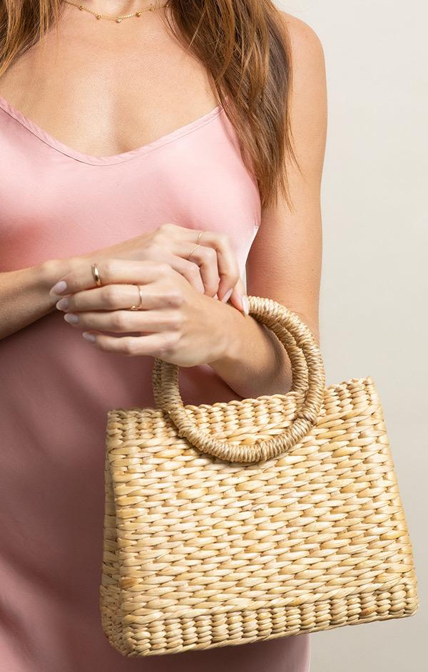 small woven tote bag