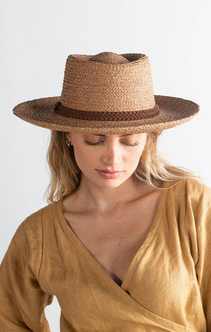 gigi pip braided suede band hat