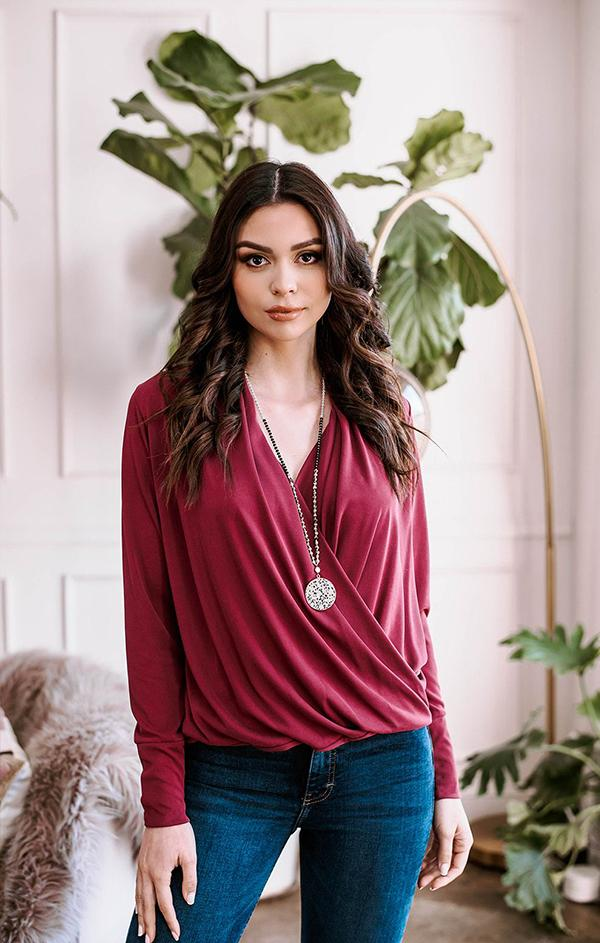 Veronica m cross long sleeve burgundy top