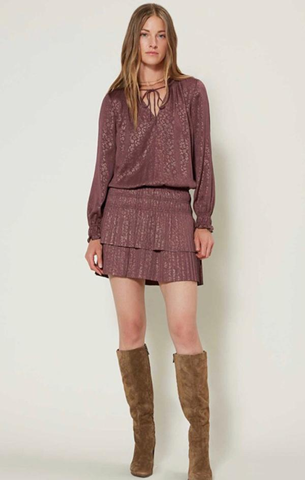 long sleeve mauve mini dress