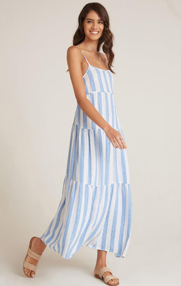 blue and white stripe maxi dress for spring by Bella dahl