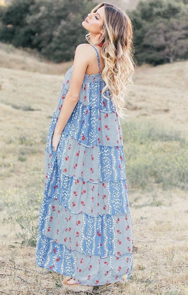 blue and red tiered maxi dress