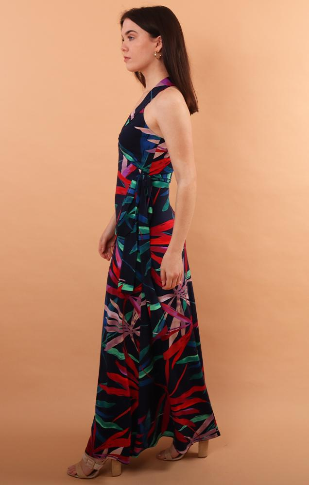 dresses maxi tropical printed sleeveless wrap maxi