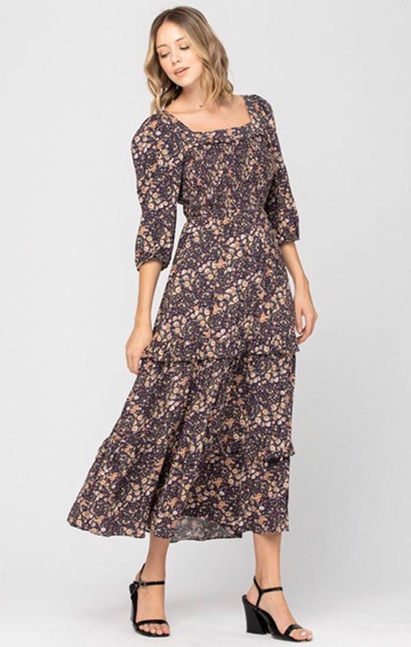 floral printed square neck midi