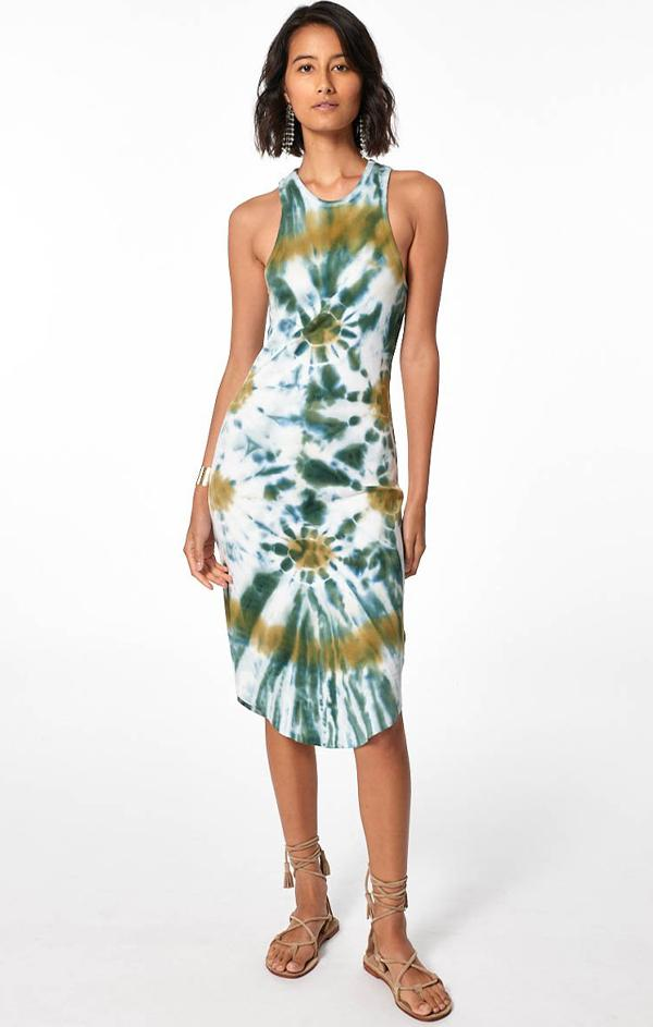 tie dye midi ribbed tank dress