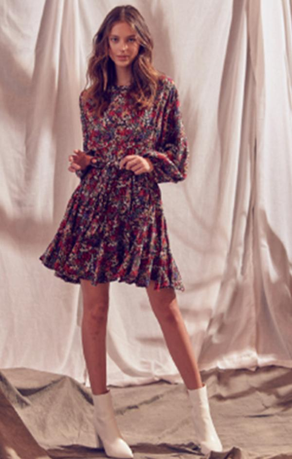 fall floral mini dress with tie waist