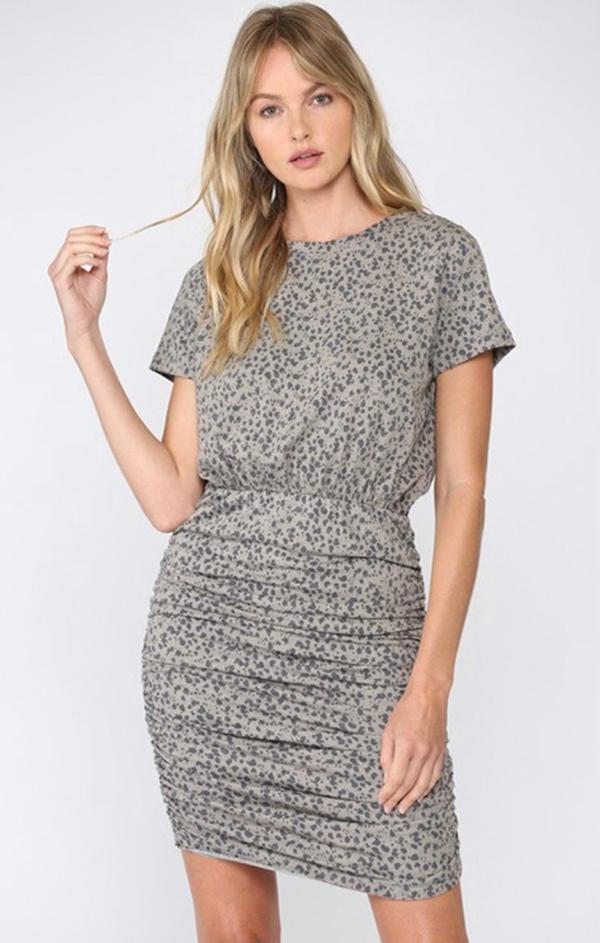 short sleeve leopard printed mini dress