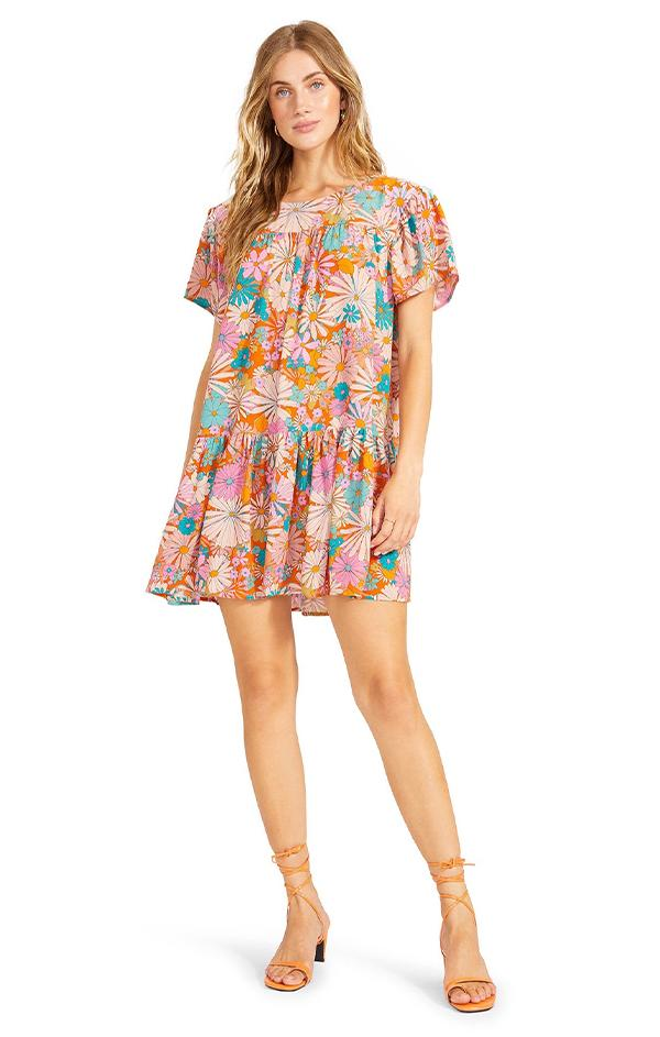 ruffle floral print mini shift dress