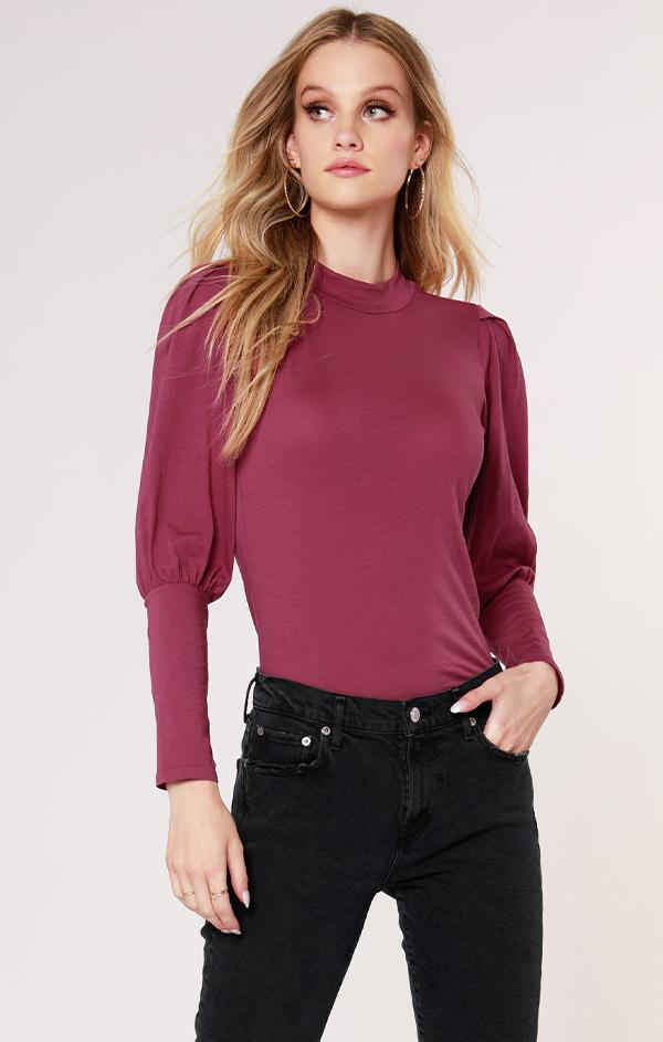 bishop sleeve mock neck top