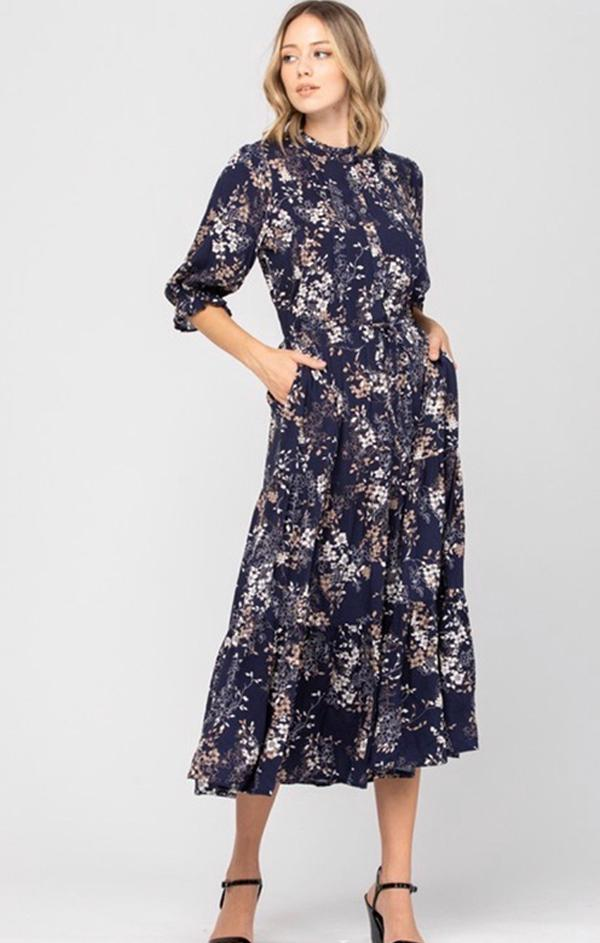 navy floral quarter sleeve midi dress