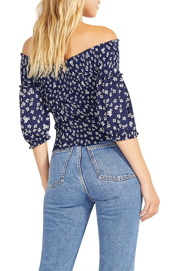 blue and white flower print summer top