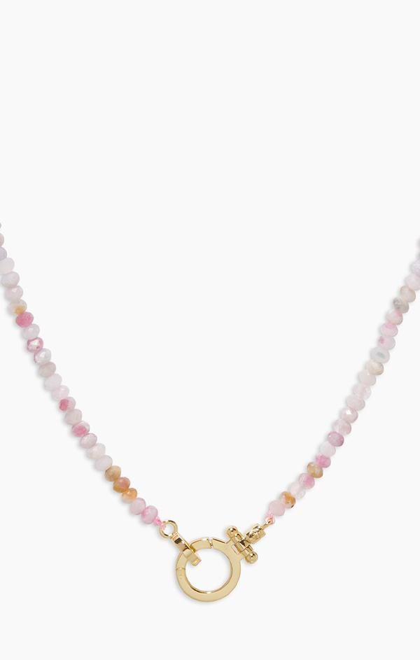 pink beaded necklace by gorjana