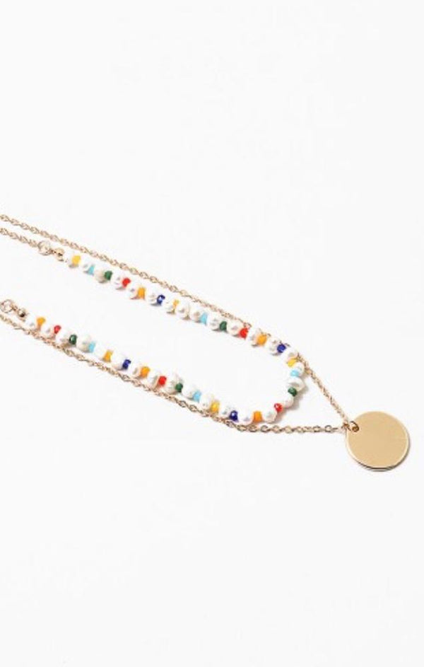 pearl rainbow beaded necklace