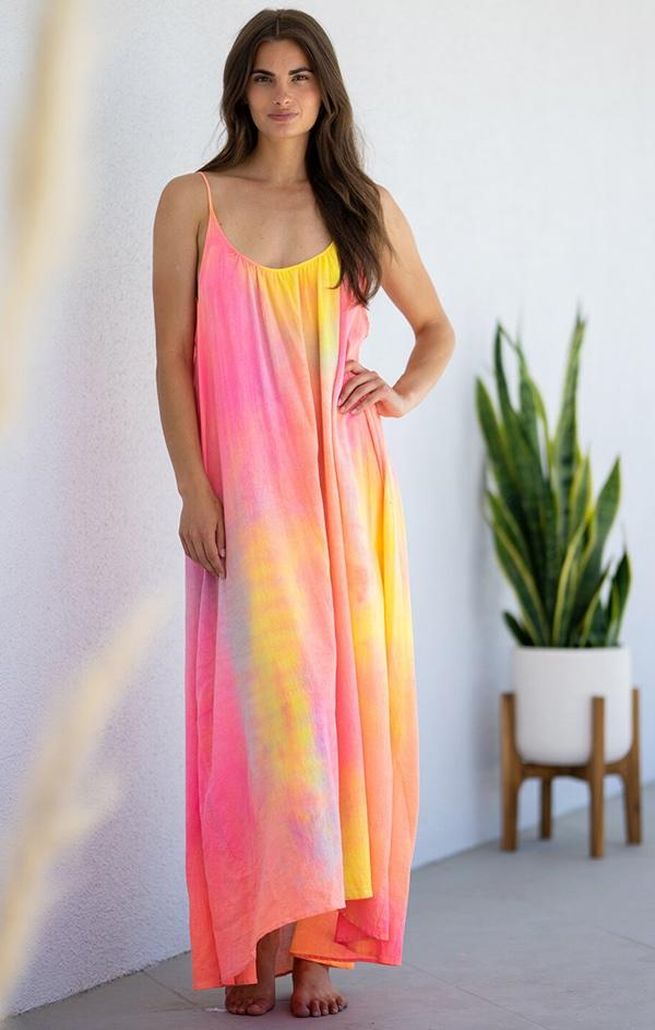 bright tie dye strapless maxi dress coverup