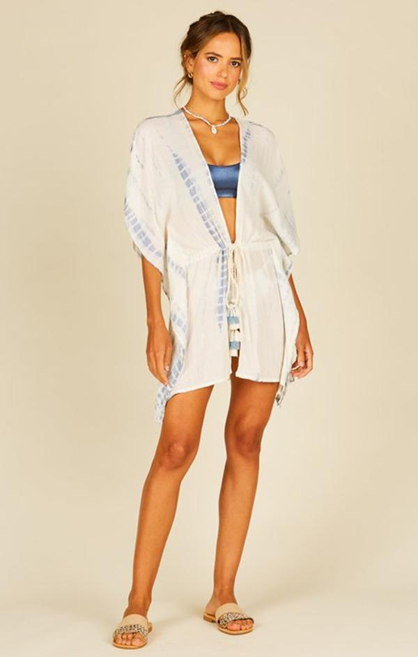 tassel tie blue and white beach cover up