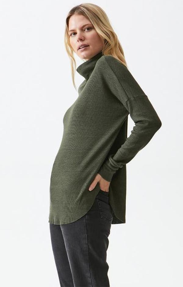 green cowl neck pullover top