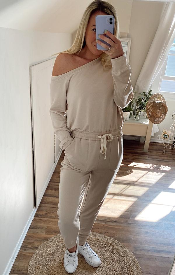 belted tie waist causal lounge jumpsuit
