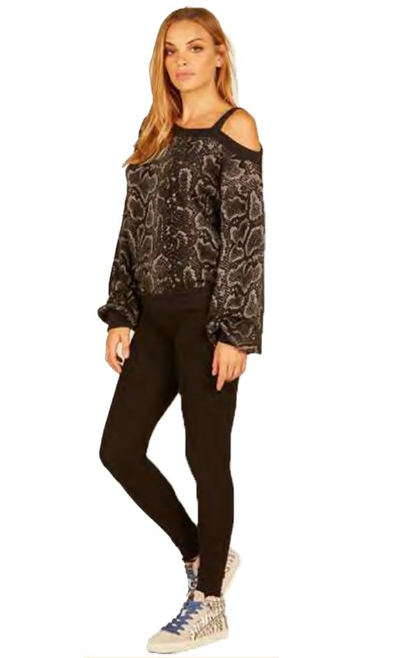 one shoulder snakeskin printed top