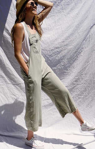 green cropped wide leg overalls