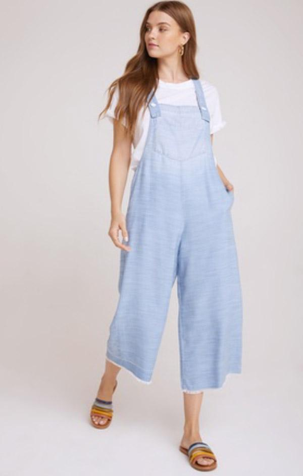 blue washed wide leg crop overall