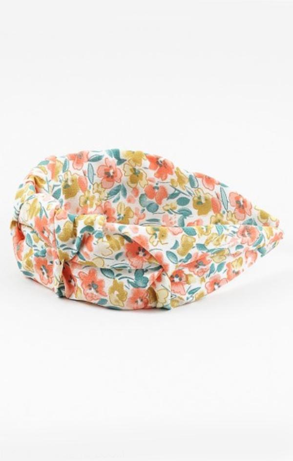 peach orange yellow green floral spring womens headband