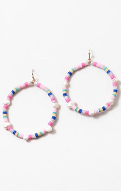 rainbow pearl beaded earrings