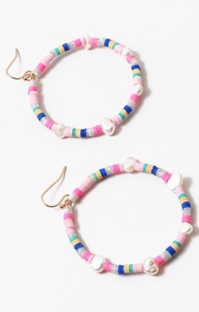 pearl rainbow beaded hoops