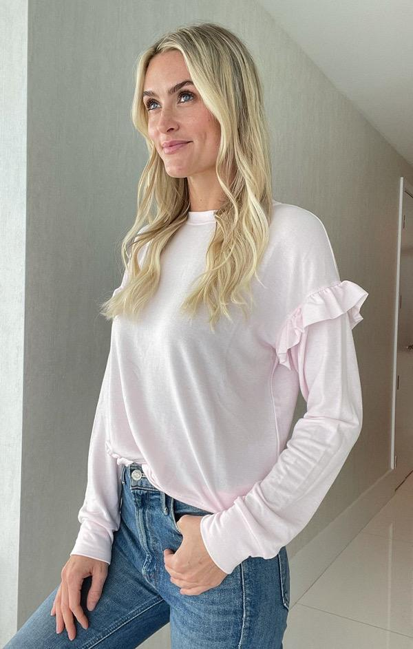 soft spring pink ruffle sweater