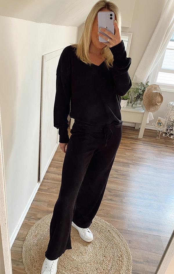 ribbed wide leg lounge pant