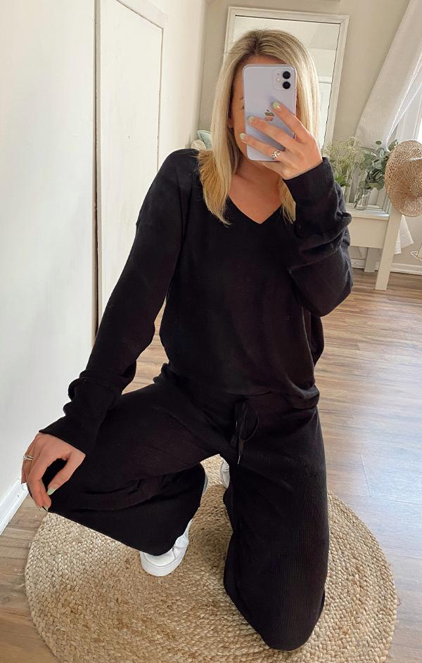 black wide drawstring sweatpant pj salvage