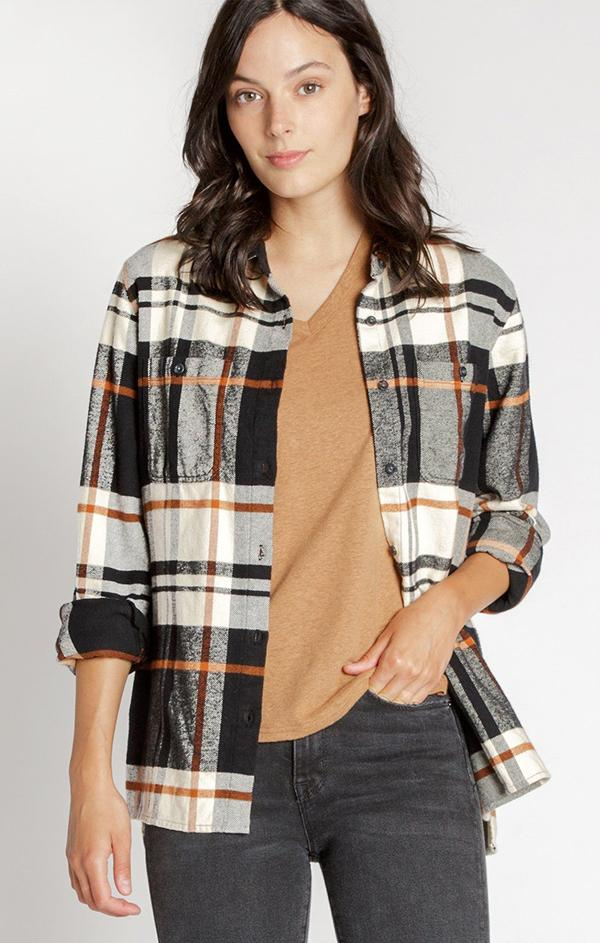 black and copper plaid flannel