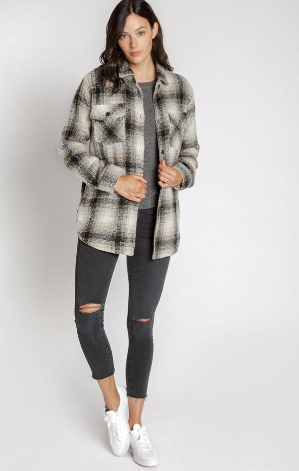 button up plaid shirt jacket