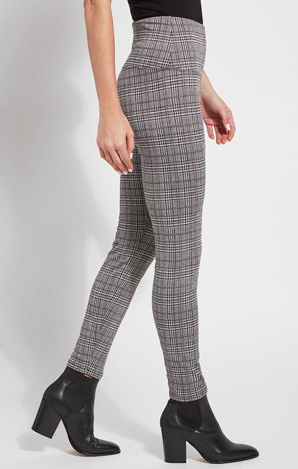 high waisted plaid grey leggings