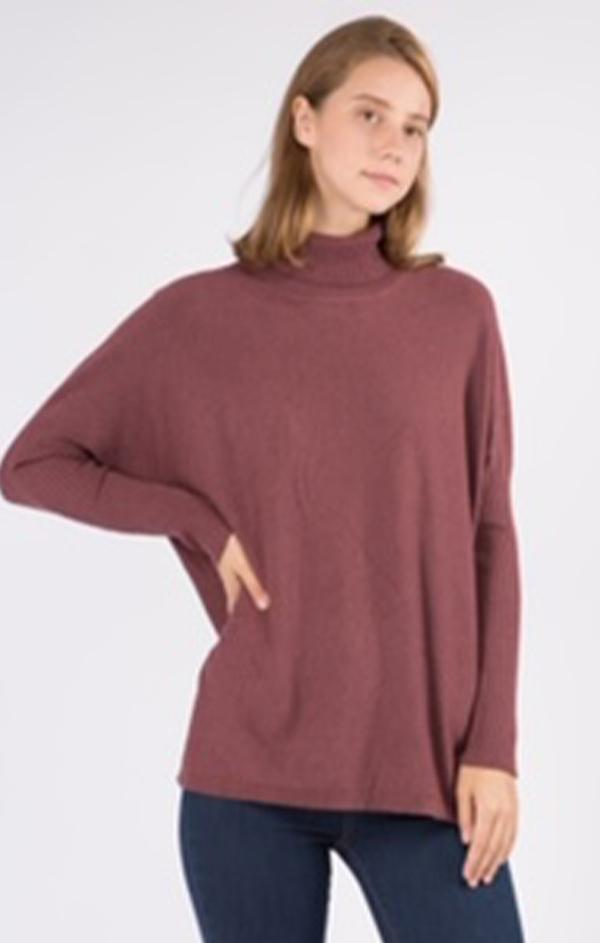 turtleneck tunic long sleeve sweater
