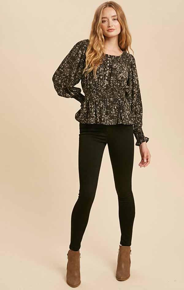 long sleeve v neck cheetah blouse