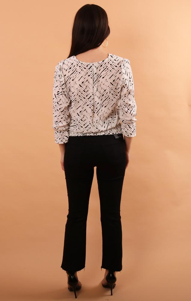 banded smocked black white blouse